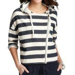 Ann Taylor Loft size Small hoodie navy striped